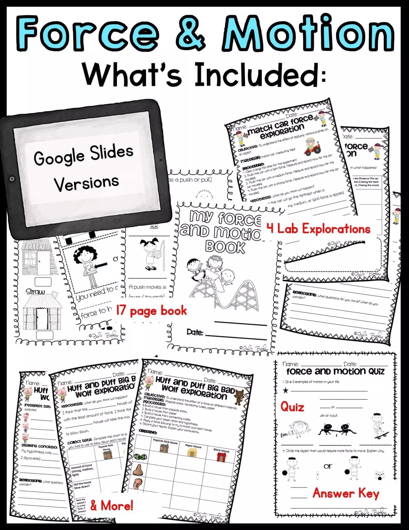 Force and Motion - 1st and 2nd Grade - Printable \u0026 Digital   Common Core  Kingdom [ 1800 x 1391 Pixel ]
