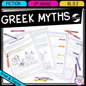 Greek myths recounting stories cover showing printable and digital passages