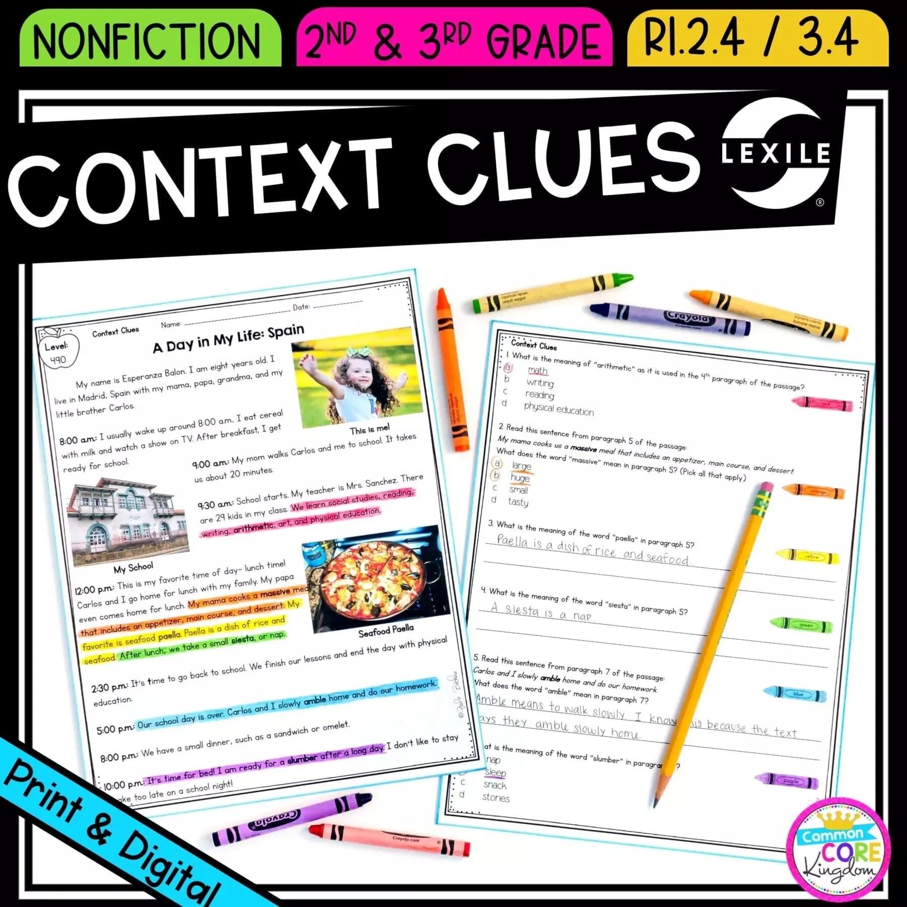 hight resolution of Context Clues in Nonfiction RI.2.4 RI.3.4  Common Core Kingdom