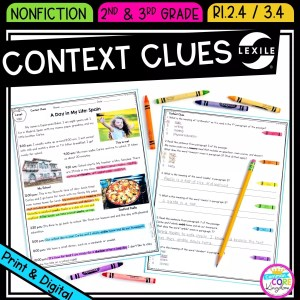 Context Clues in Nonfiction for 2nd & 3rd grade cover showing printable and digital worksheets