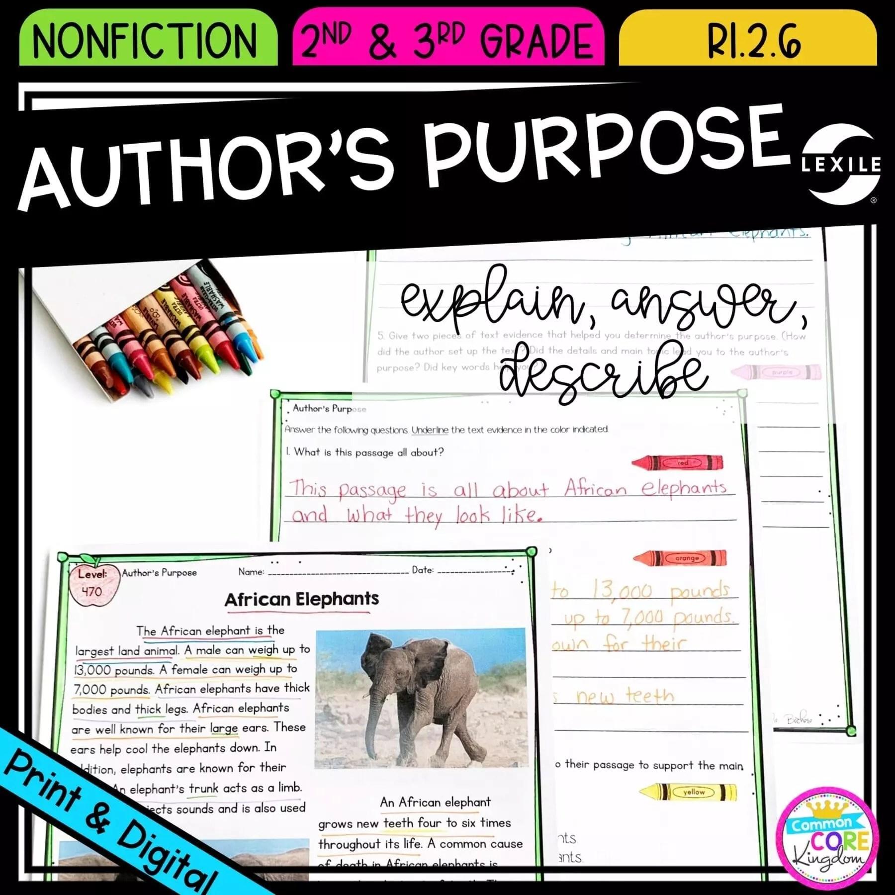 Author's Purpose 2nd Grade RI.2.6  Common Core Kingdom [ 1800 x 1800 Pixel ]