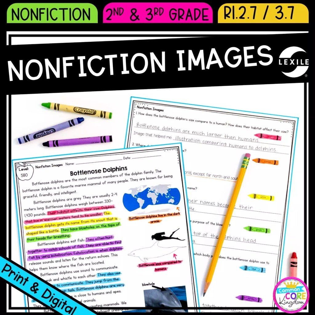Nonfiction Text Features: Images for 2nd & 3rd grade cover showing printable and digital worksheets