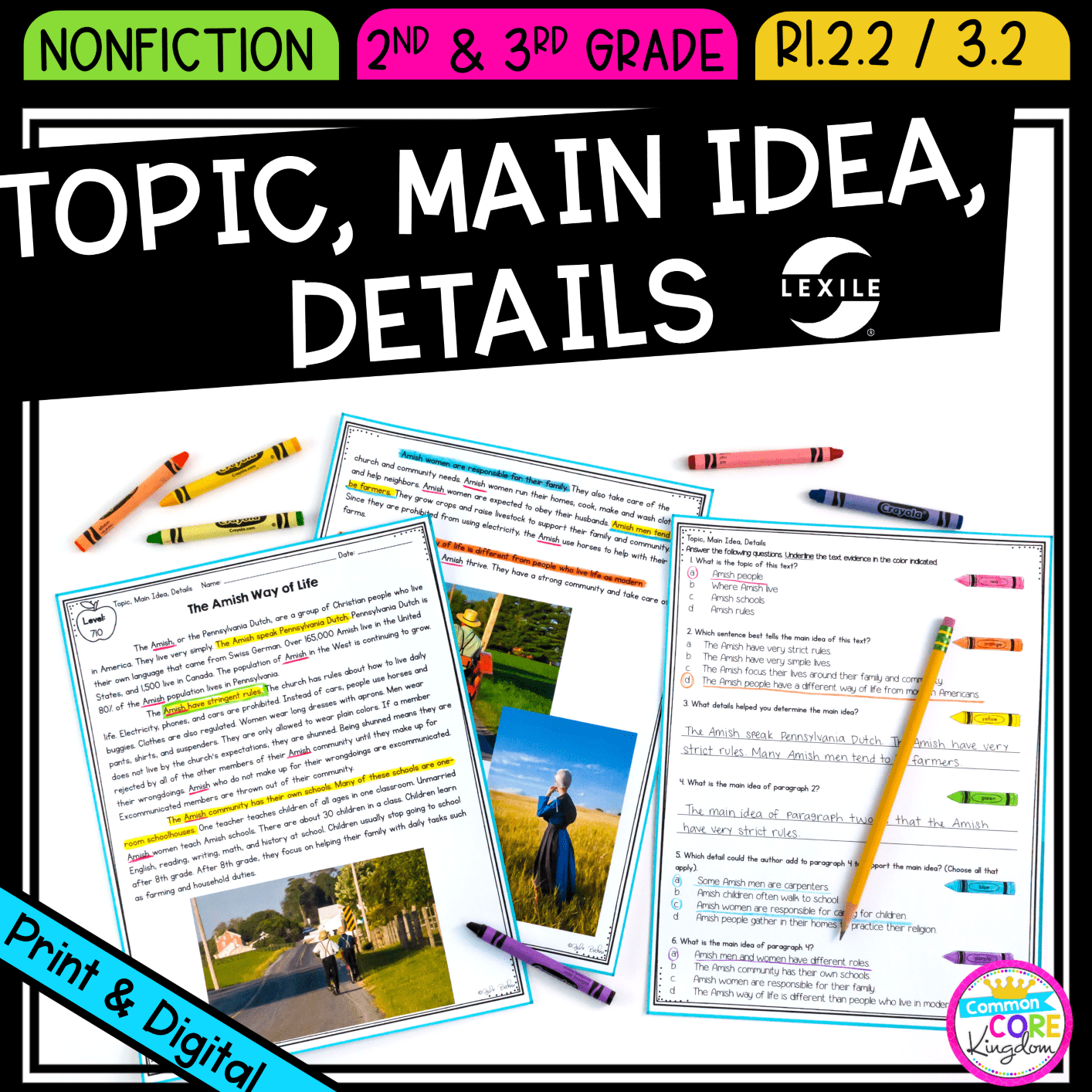 medium resolution of Main Idea \u0026 Details 2nd \u0026 3rd Grade   Common Core Kingdom