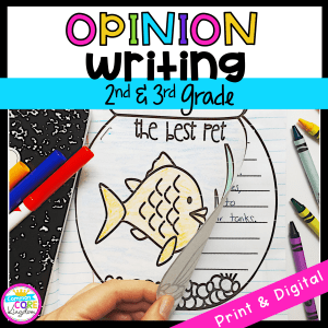 Opinion Writing cover for 2nd and 3rd grade showing the front cover of a student created book with a goldfish