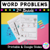 Cover for 2nd grade word problems resource showing math worksheets and the text says printable & google slides versions available