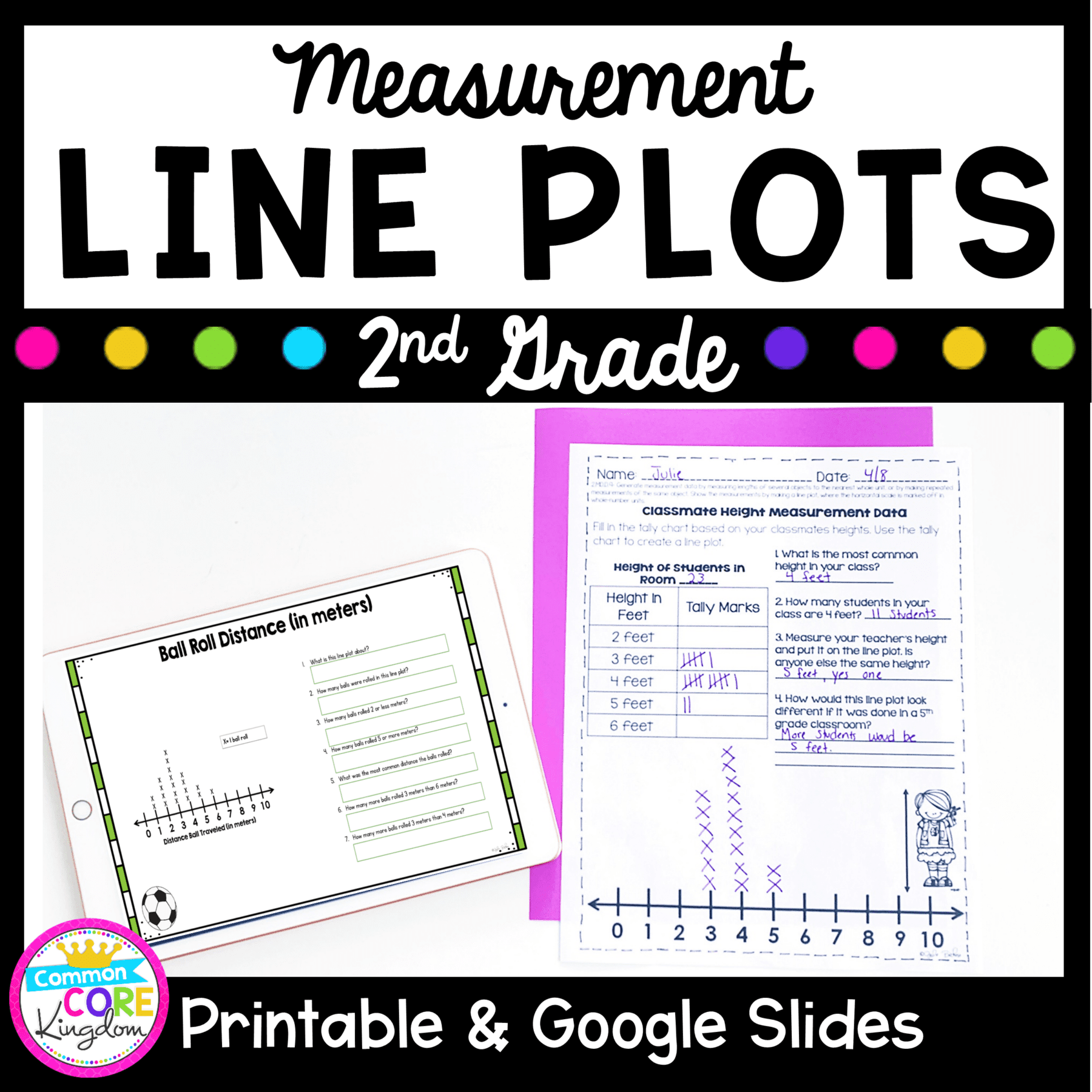 Line Plots \u0026 Measurement Data- 2nd Grade 2.MD.D.9 Google Slides Distance  Learning Pack   Common Core Kingdom [ 1800 x 1800 Pixel ]