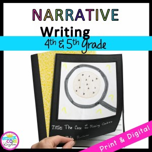 Narrative Writing Interactive Journal- W.4.3: W.5.3-1 cover showing the front page of a student created notebook