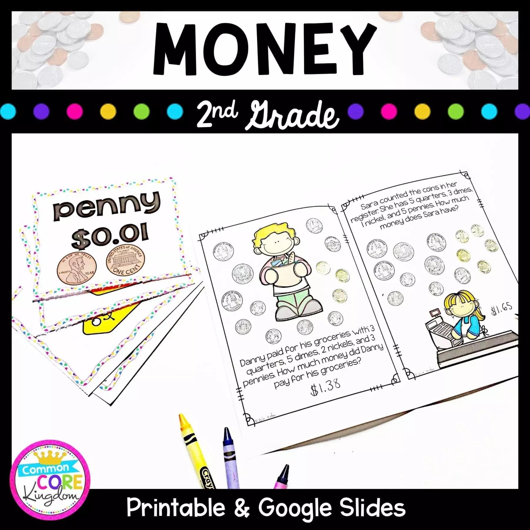Money - 2nd Grade Math 2.MD.C.8 - Google Slides Distance Learning Pack    Common Core Kingdom   Math Skills [ 1800 x 1800 Pixel ]