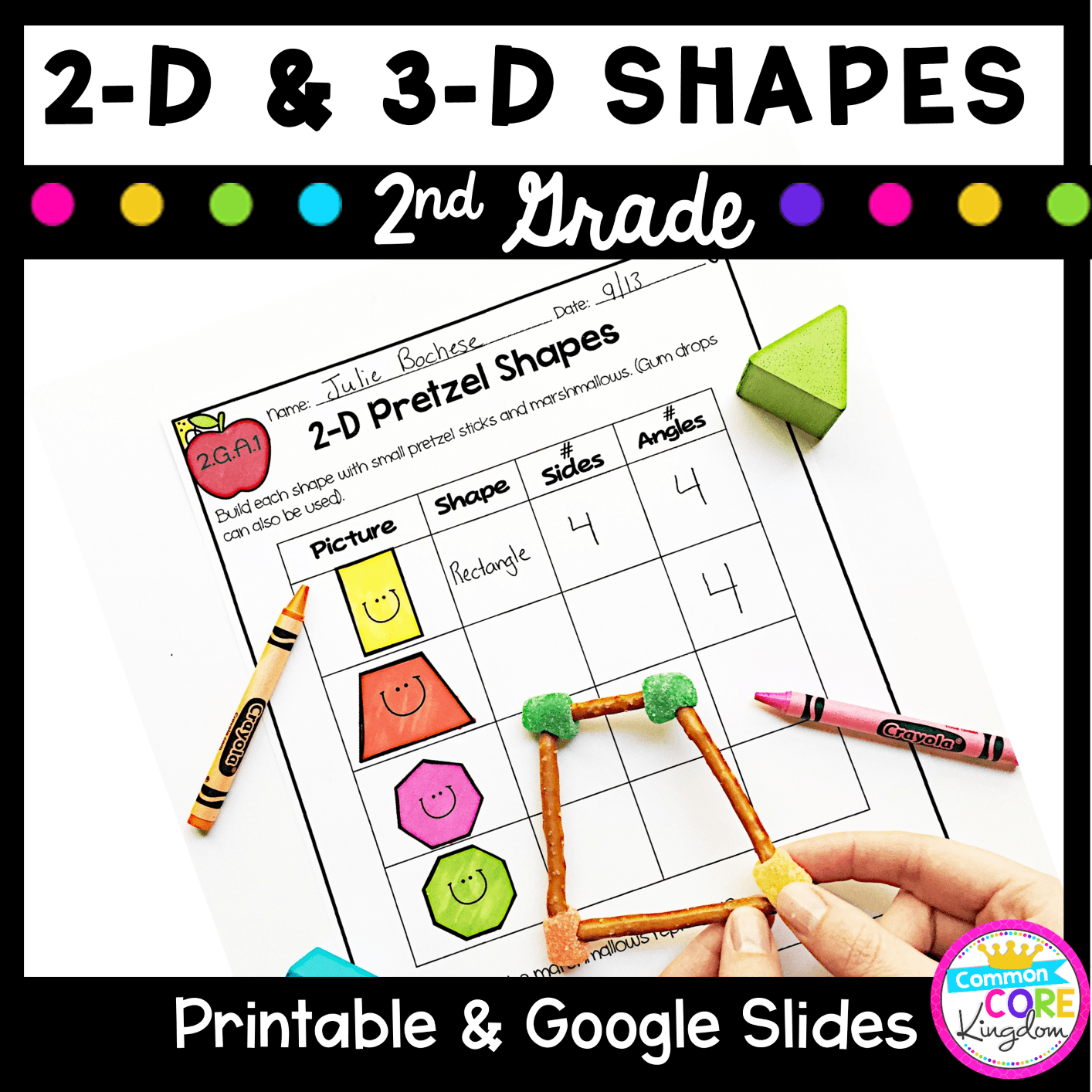 Geometry 2-D \u0026 3-D Shapes 2nd Grade CC 2.GA.1 - Google Slides Distance  Learning Pack   Common Core Kingdom [ 1414 x 1414 Pixel ]