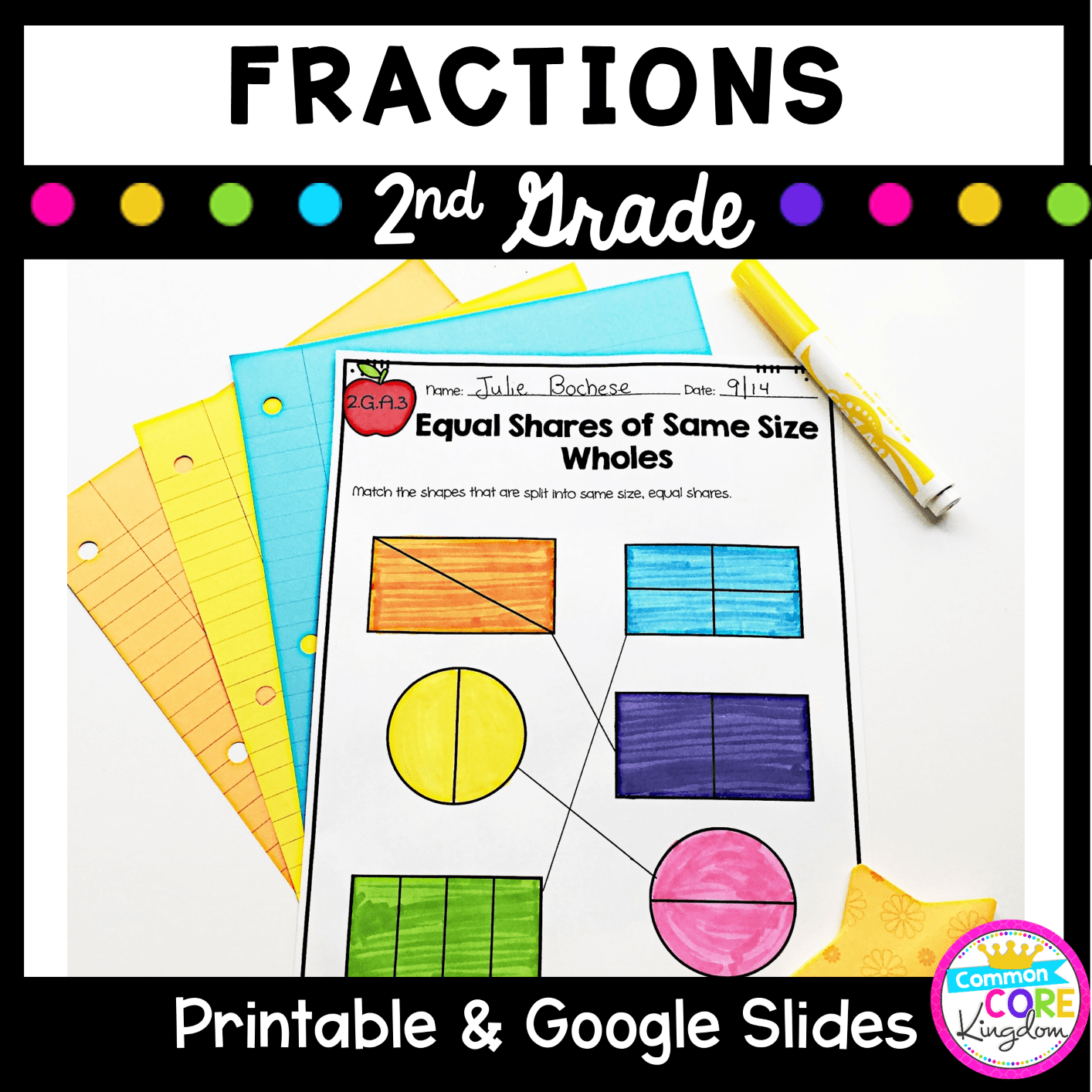 small resolution of Fractions \u0026 Partitioning Shapes 2nd Grade - Distance Learning