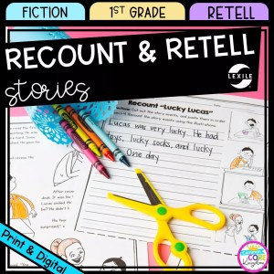 Recount and Retell cover for 1st grade showing printable and digital worksheets