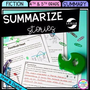 Summarize stories cover for 4th and 5th grade, showing printable and digital worksheets