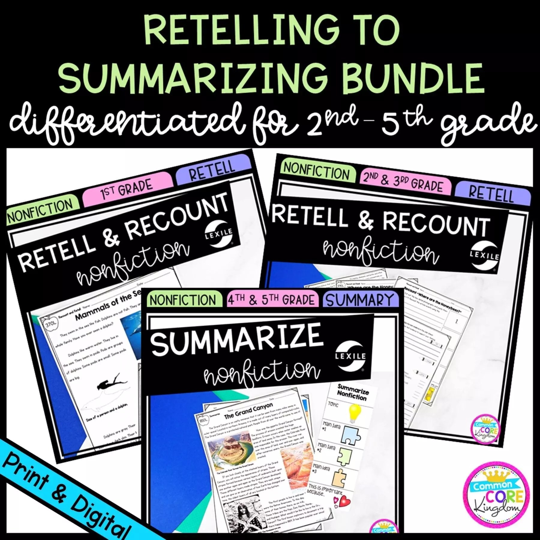 medium resolution of Retelling to Summarizing Nonfiction Differentiated Bundle - Google Distance  Learning   Common Core Kingdom