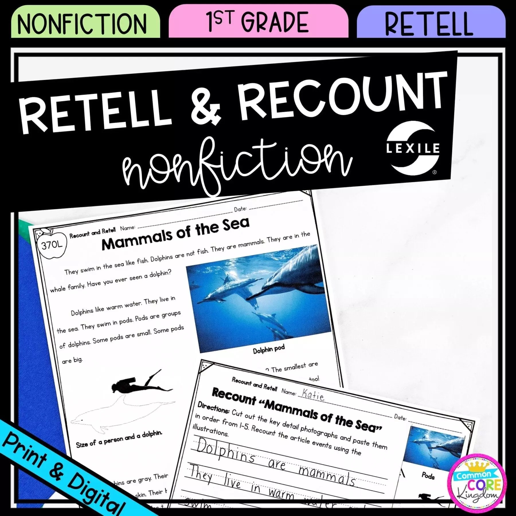 Retell and Recount Nonfiction 1st Grade - Google Distance Learning   Common  Core Kingdom [ 1800 x 1800 Pixel ]
