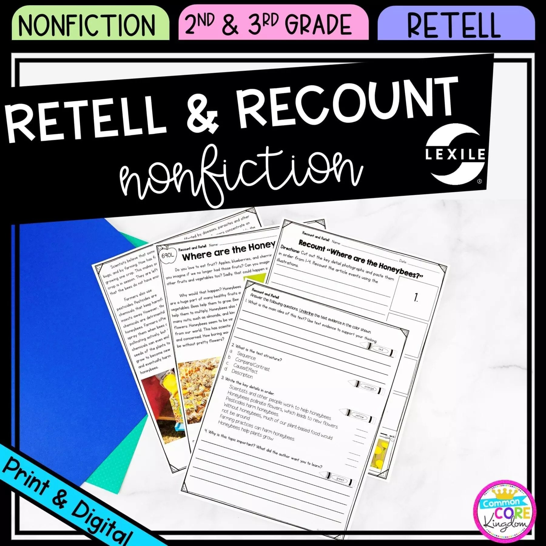Retell and Recount Nonfiction 2nd \u0026 3rd Grade - Google Distance Learning    Common Core Kingdom [ 1800 x 1800 Pixel ]