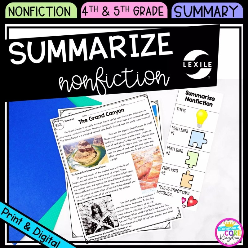 Summarize Nonfiction cover for 4th & 5th grade showing printable and digital worksheet