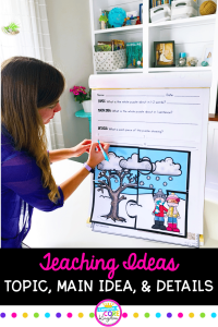 Teacher writing details on a main idea poster that has a main idea puzzle displayed