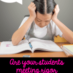 """Student Reading with thought bubble that says """"this is too hard"""" with text on bottom saying """"are your students meeting rigor expectations"""""""