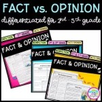 Cover of Fact and Opinion in nonfiction resource bundle for second grade, third grade, fourth grade, and fifth grade showing images of reading passages and activities.