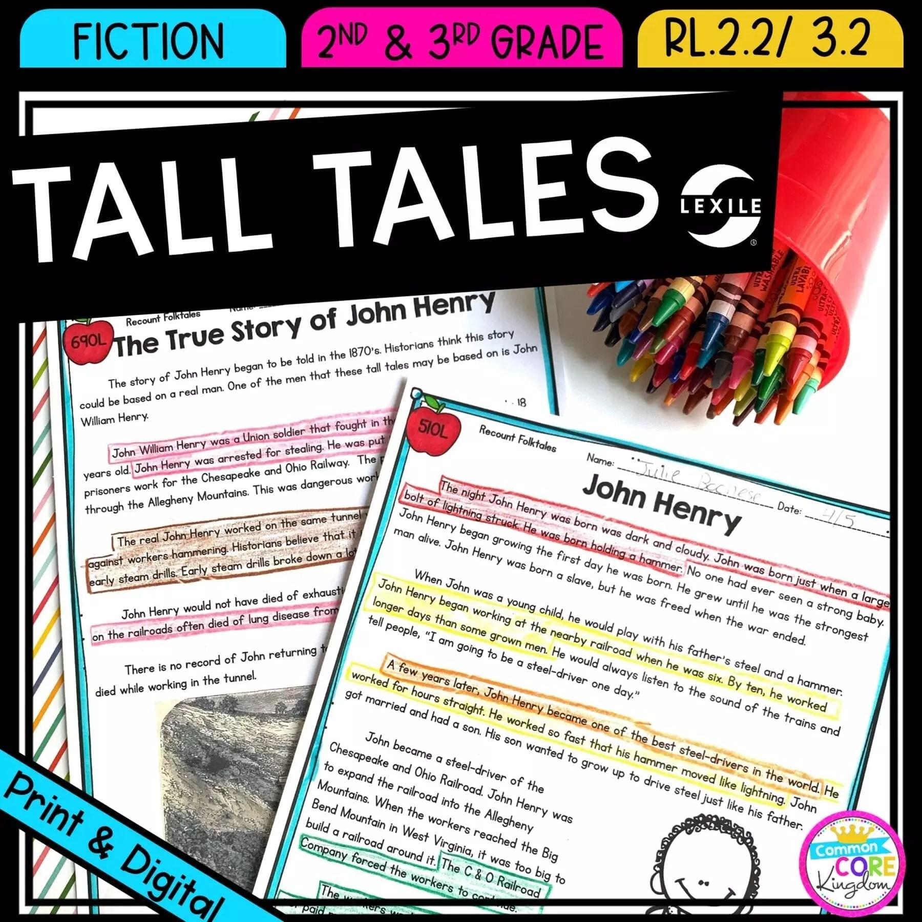 Recount Stories: Tall Tales 2nd \u0026 3rd Grade  Common Core Kingdom [ 1800 x 1800 Pixel ]