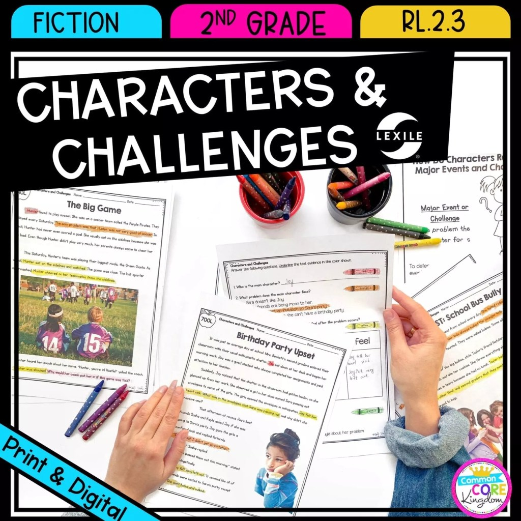 How Characters Respond to Events and Challenges for 2nd and 3rd grade cover showing printable and digital worksheets