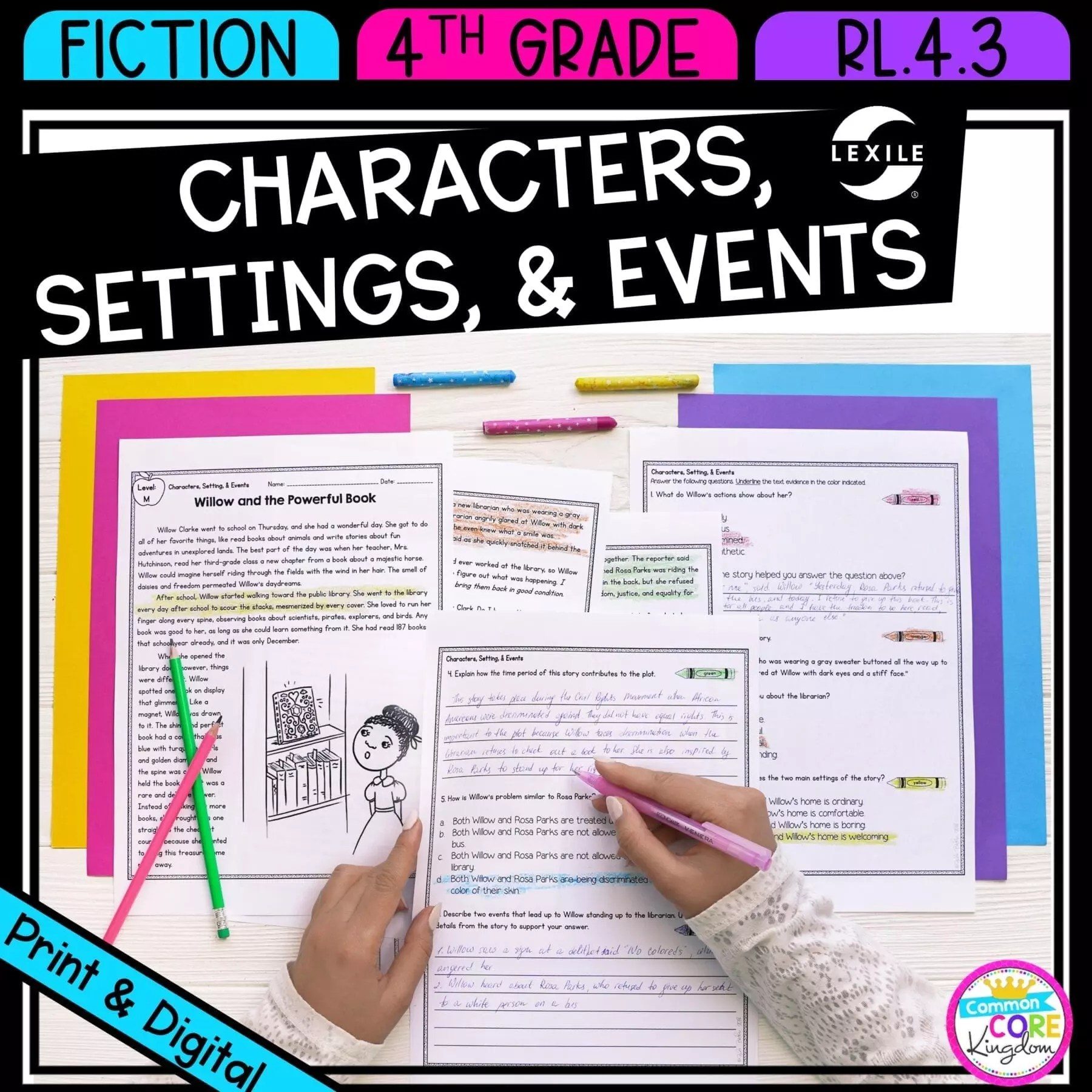 hight resolution of Character Settings Events in a Drama 4th Grade   Common Core Kingdom