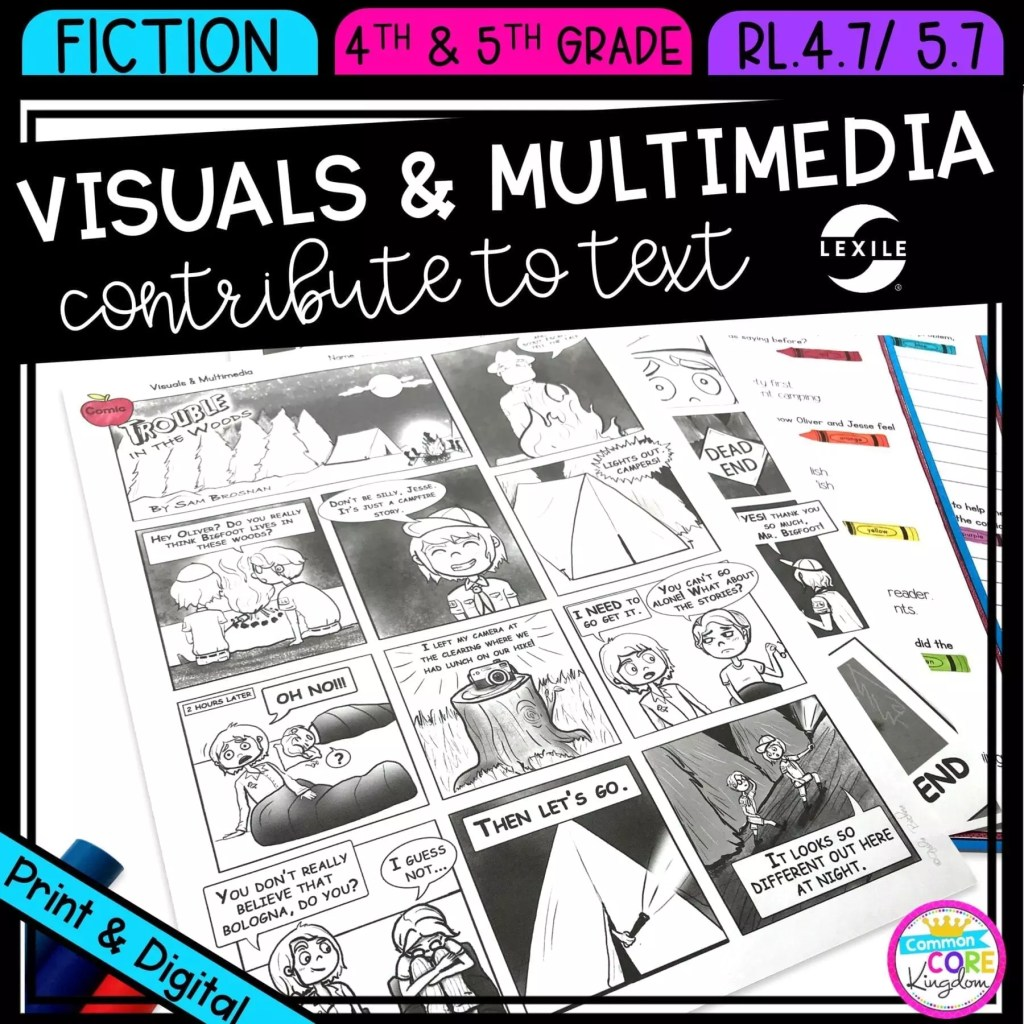 Visuals and Multimedia in Fiction in 4th & 5th grade cover showing printable and digital worksheets