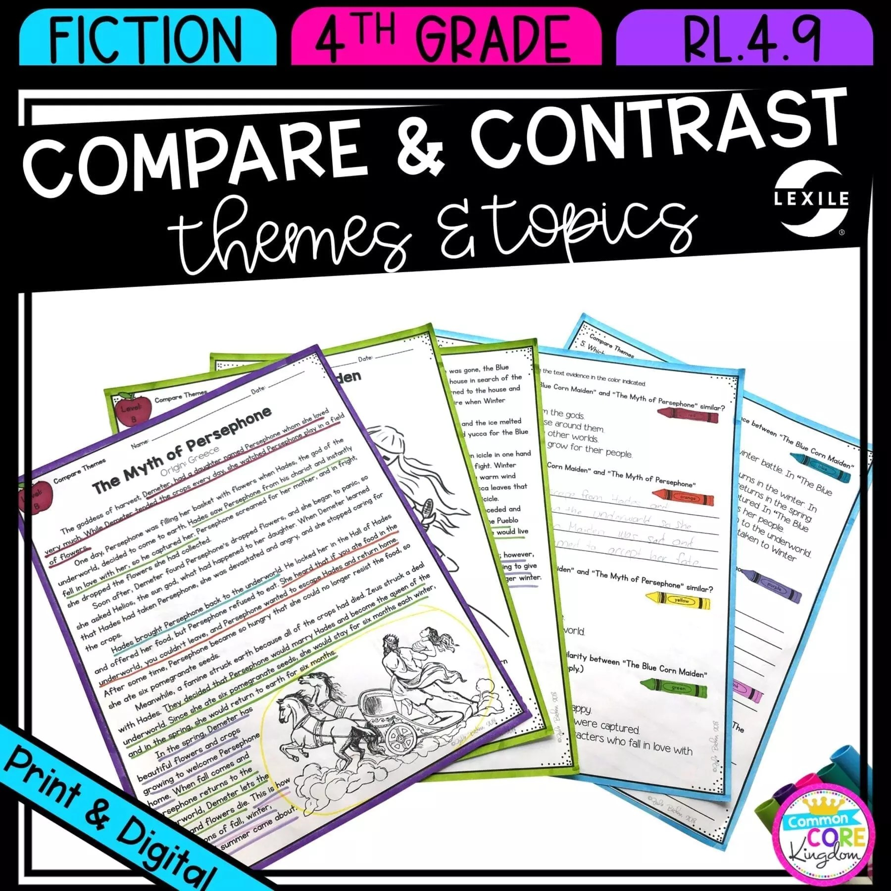 hight resolution of Compare \u0026 Contrast Theme 4th Grade  Common Core Kingdom