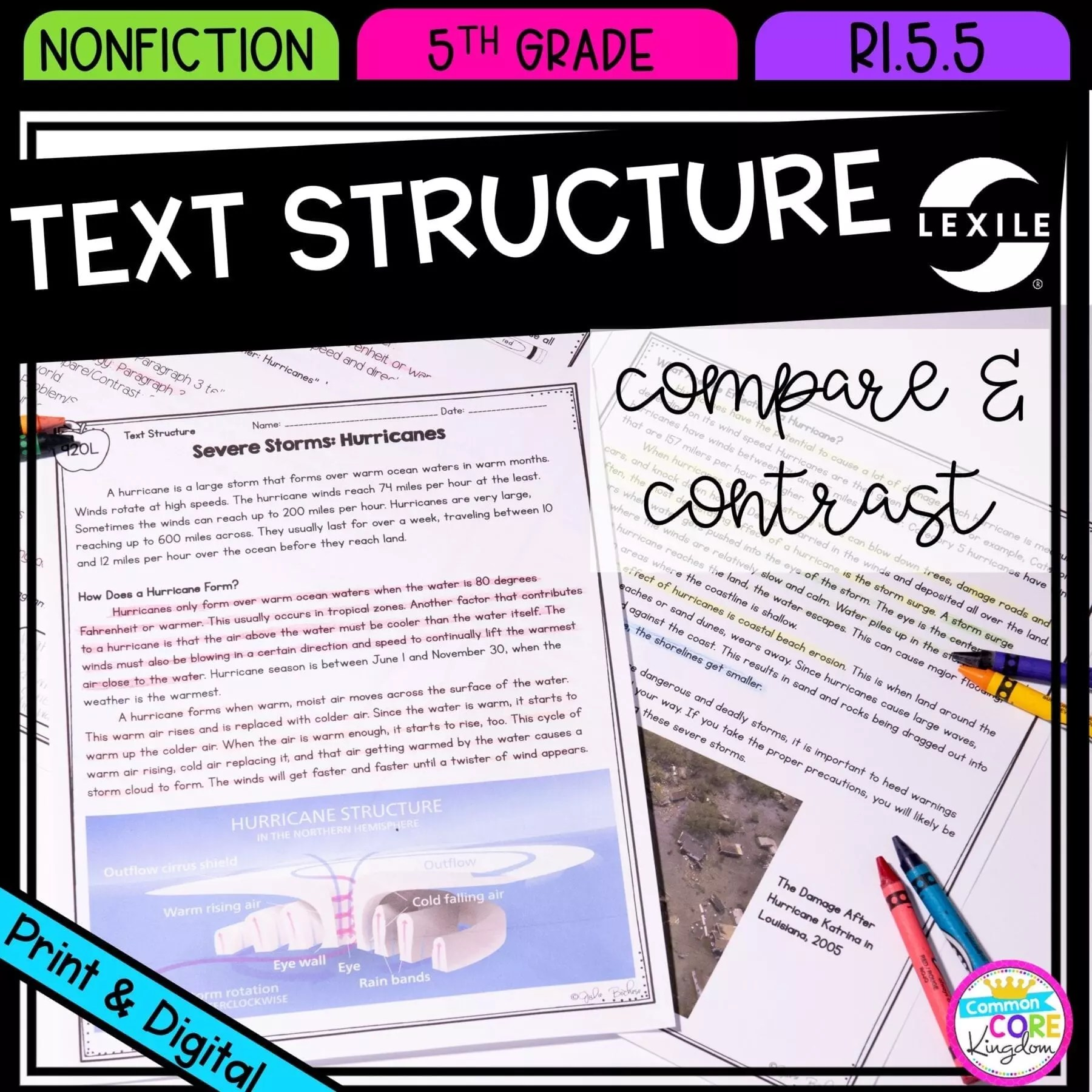 Google Slides Compare \u0026 Contrast Text Structure - 5th RI.5.5 Printable \u0026  Digital Distance Learning Pack   Common Core Kingdom [ 1800 x 1800 Pixel ]