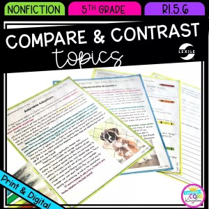 Compare & Contrast Topics from Different Points of View for 5th grade cover showing printable and digital worksheets