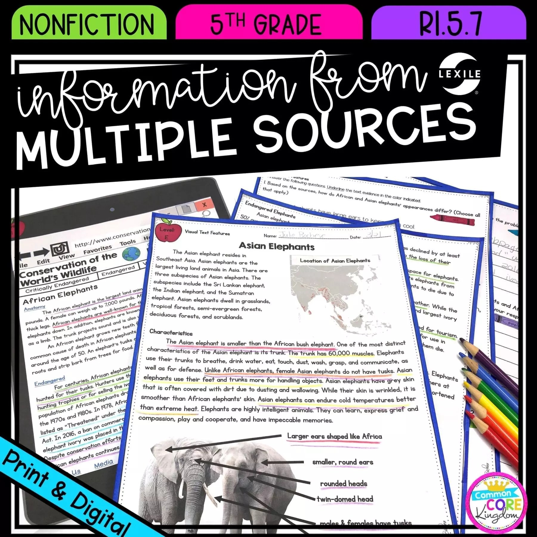 hight resolution of Information from Multiple Sources RI.5.7   Common Core Kingdom