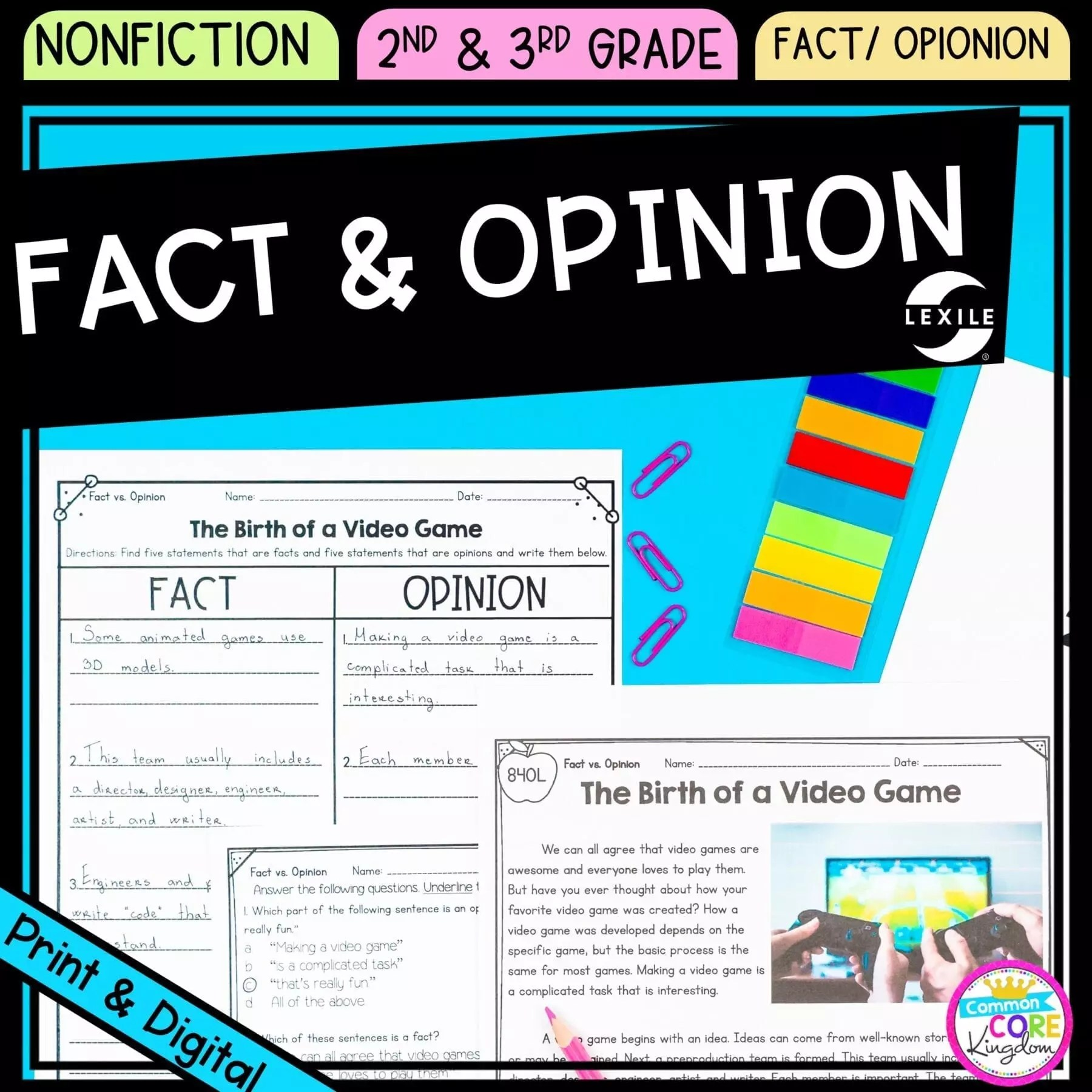 hight resolution of Fact and Opinion 2nd \u0026 3rd Grade - Google Distance Learning   Common Core  Kingdom