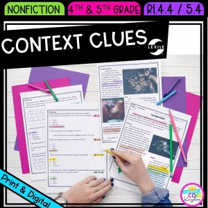 Context Clues in Nonfiction for 4th & 5th grade cover showing printable and digital worksheets