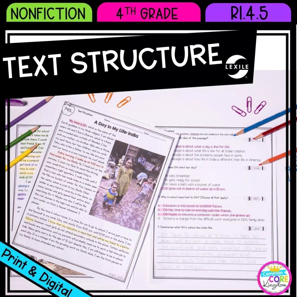 medium resolution of Text Structure in Nonfiction 4th Grade   Common Core Kingdom