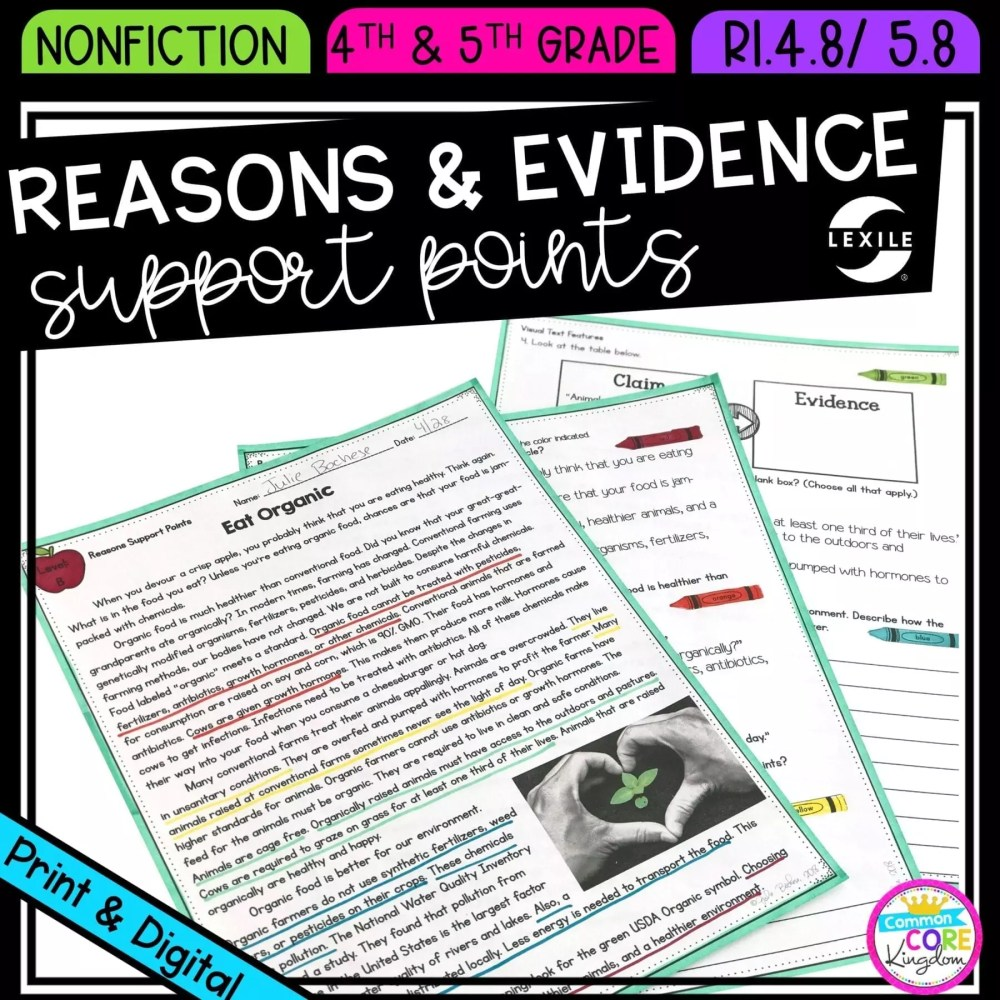 medium resolution of Reasons \u0026 Evidence Support Points  Common Core Kingdom