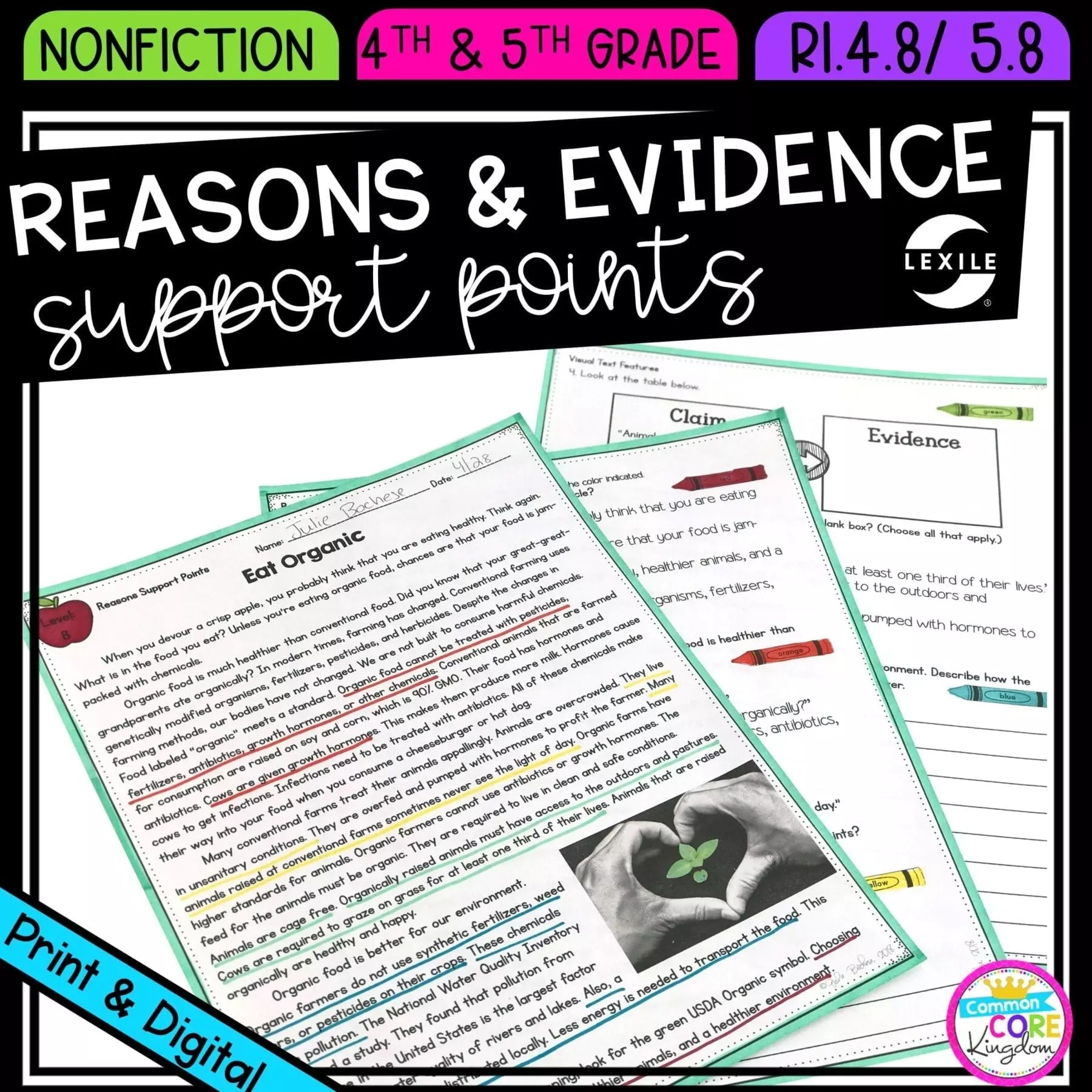 hight resolution of Reasons \u0026 Evidence Support Points  Common Core Kingdom
