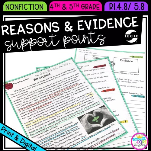 small resolution of Reasons \u0026 Evidence Support Points  Common Core Kingdom