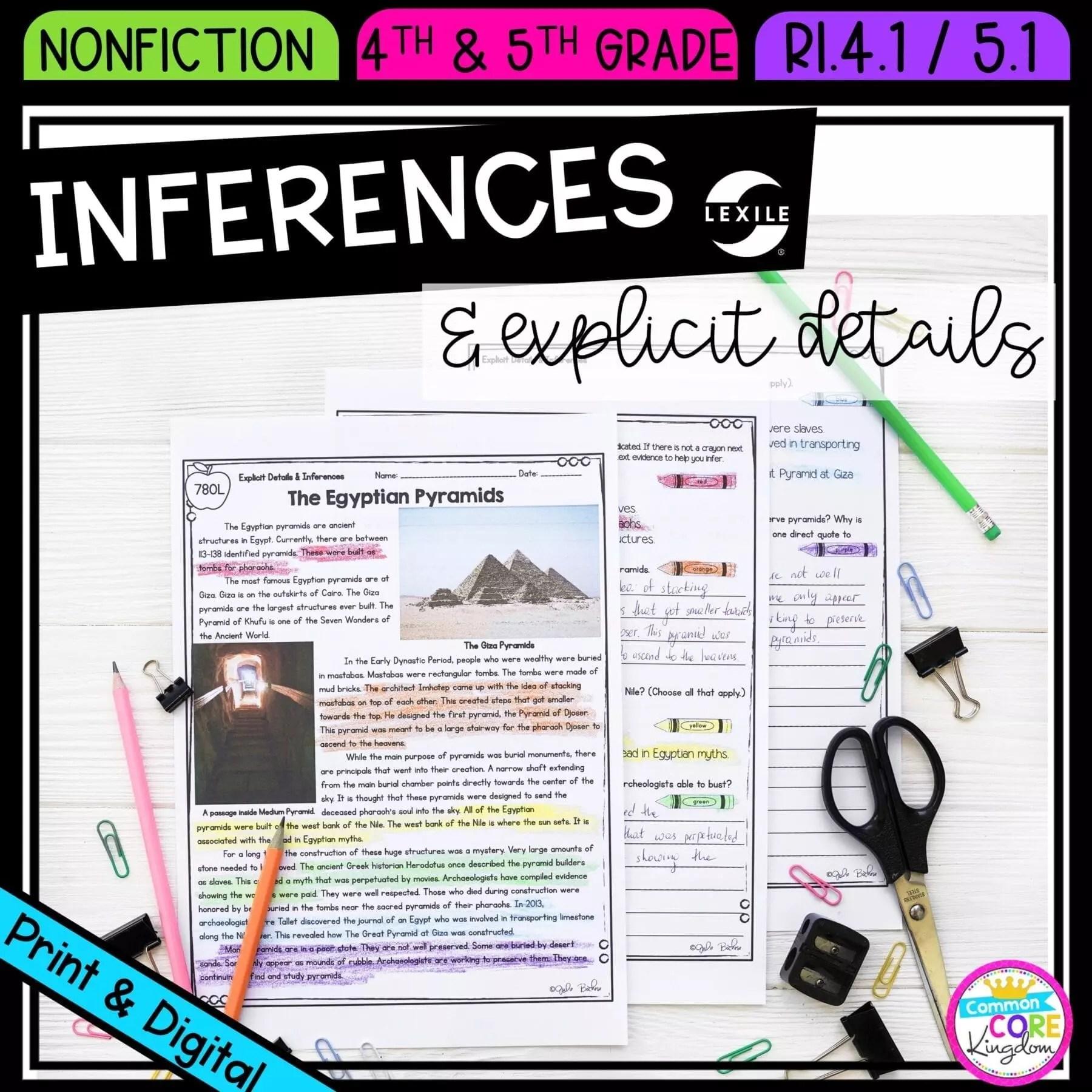 hight resolution of Inferences in Nonfiction RI.4.1 RI.5.1  Common Core Kingdom