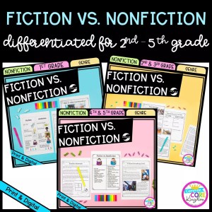 Fiction Vs. Nonfiction Bundle cover with 3 different products for 1st - 5th grades showing printable and digital worksheets