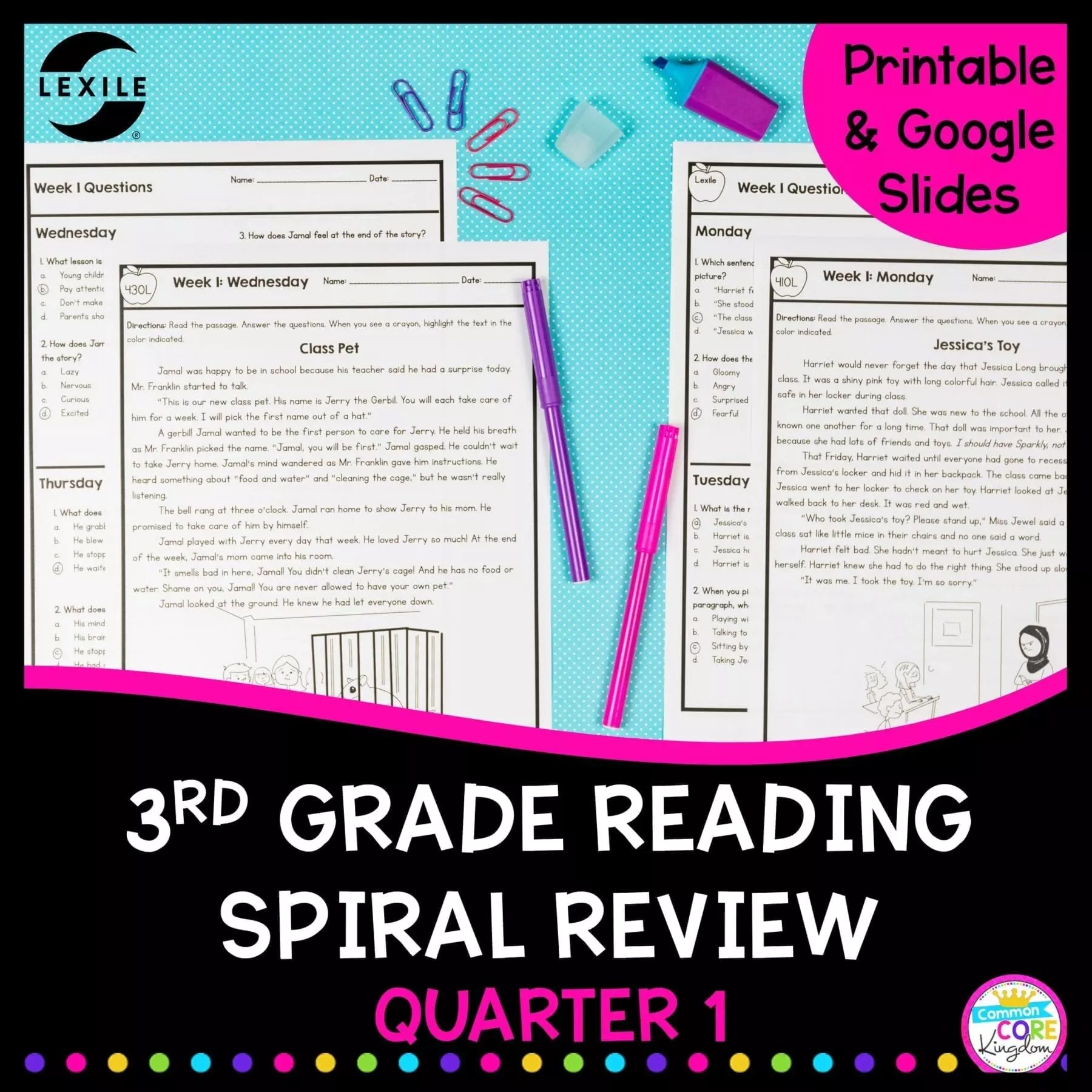 3rd Grade Reading Spiral Review - Quarter 1 Google Forms Distance Learning  Pack   Common Core Kingdom [ 1800 x 1800 Pixel ]