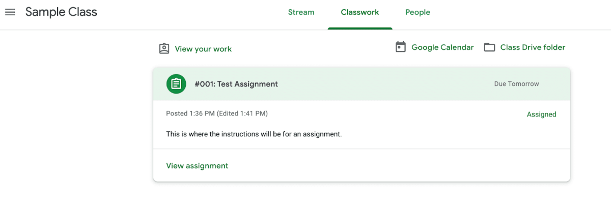 Screenshot of Google Classroom Assignment Details