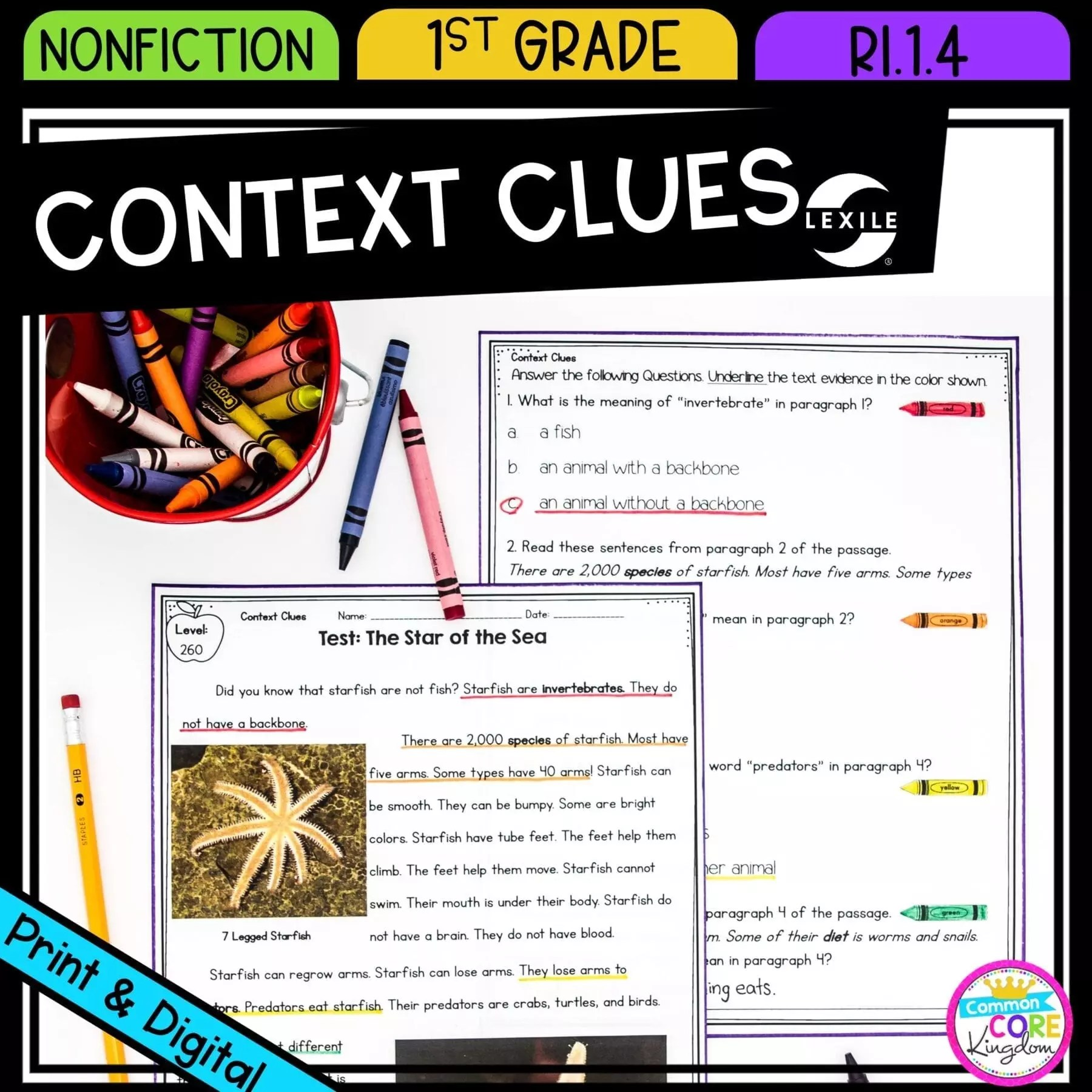 Context Clues in Nonfiction - 1st Grade - RI.1.4 Printable \u0026 Digital Google  Slides Distance Learning   Common Core Kingdom [ 1800 x 1800 Pixel ]