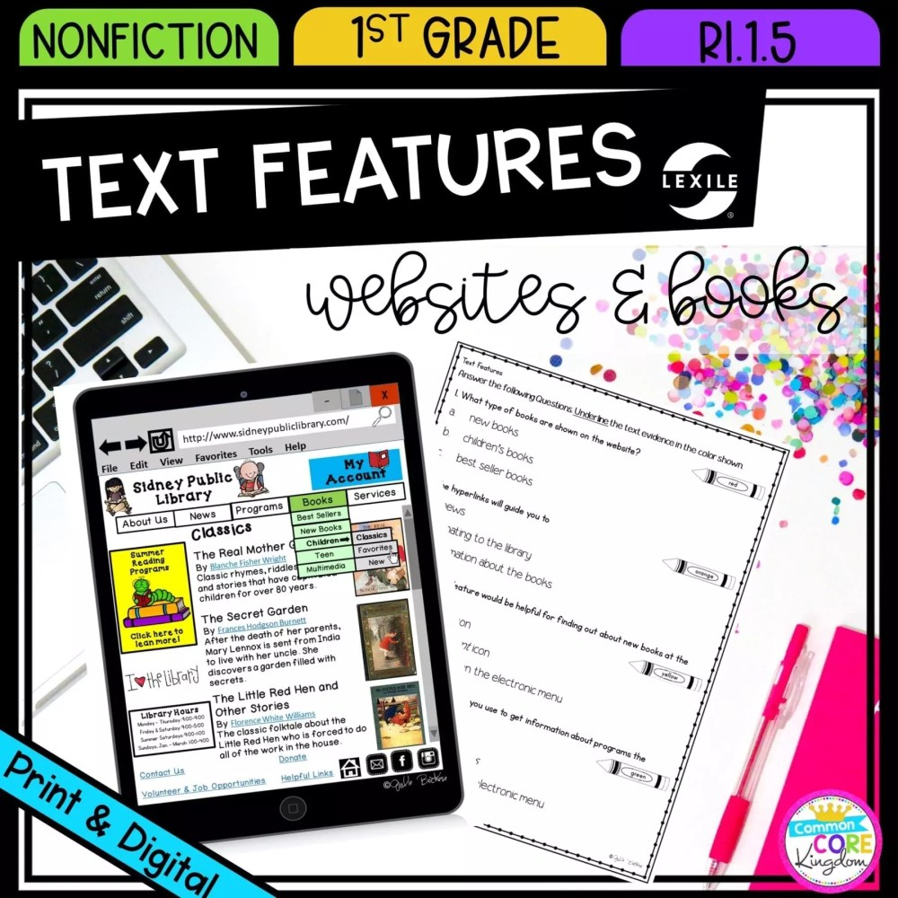 medium resolution of Nonfiction Text Features - 1st Grade RI.1.5 Printable \u0026 Digital Google  Slide Distance Learning Pack   Common Core Kingdom