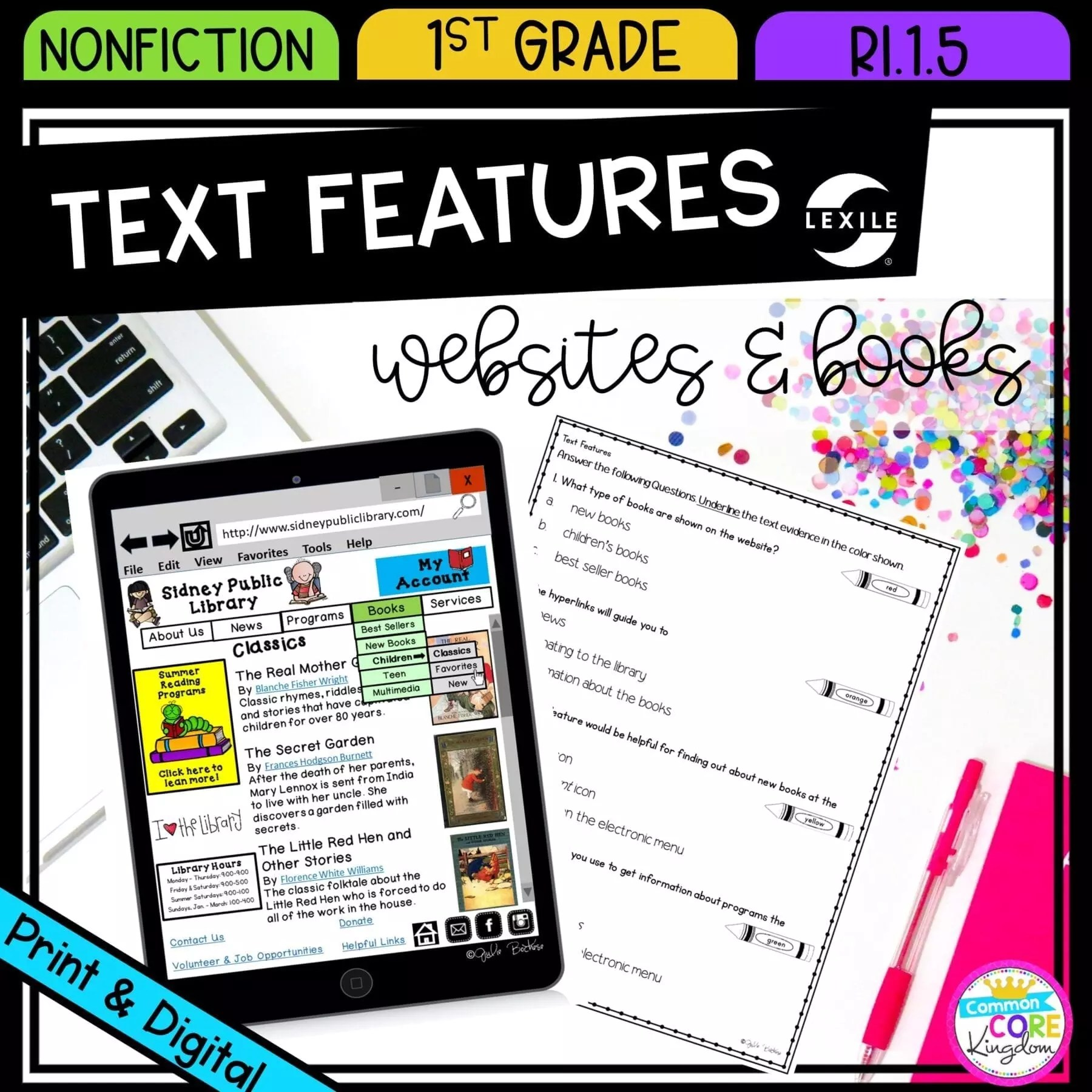 hight resolution of Nonfiction Text Features - 1st Grade RI.1.5 Printable \u0026 Digital Google  Slide Distance Learning Pack   Common Core Kingdom