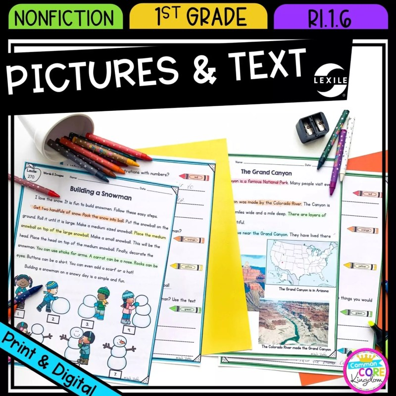 Information in Words and Images for 1st grade cover showing printable and digital worksheets