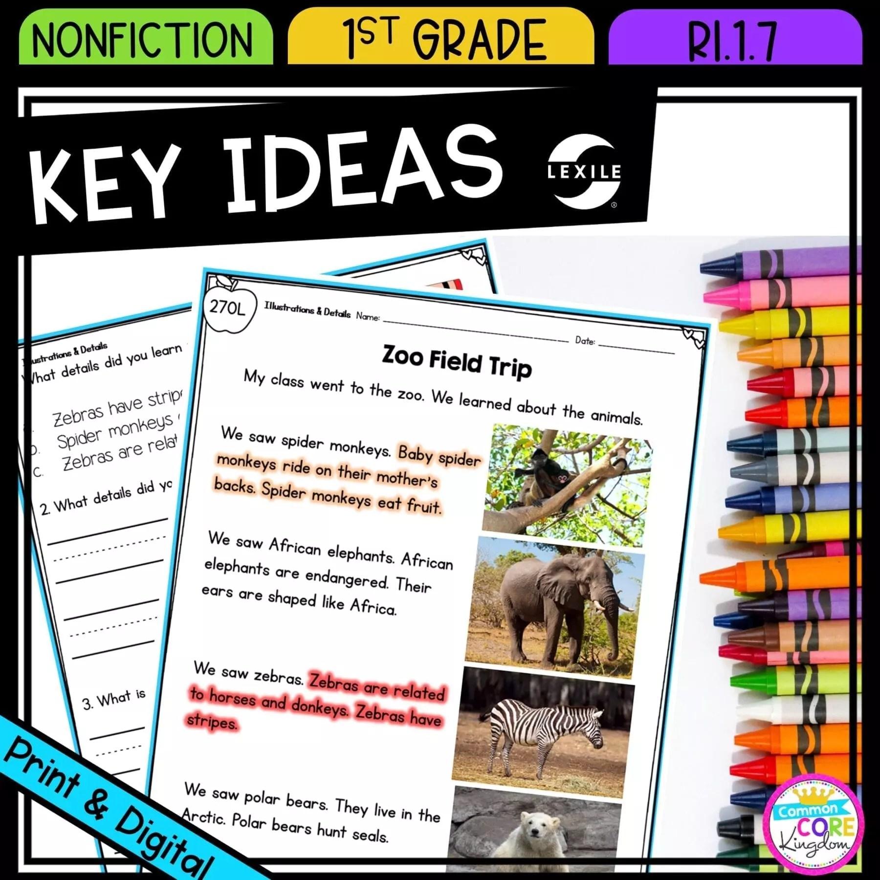 Illustrations \u0026 Key Ideas - 1st Grade RI.1.7 Printable \u0026 Digital Google  Slides Distance Learning   Common Core Kingdom [ 1800 x 1800 Pixel ]