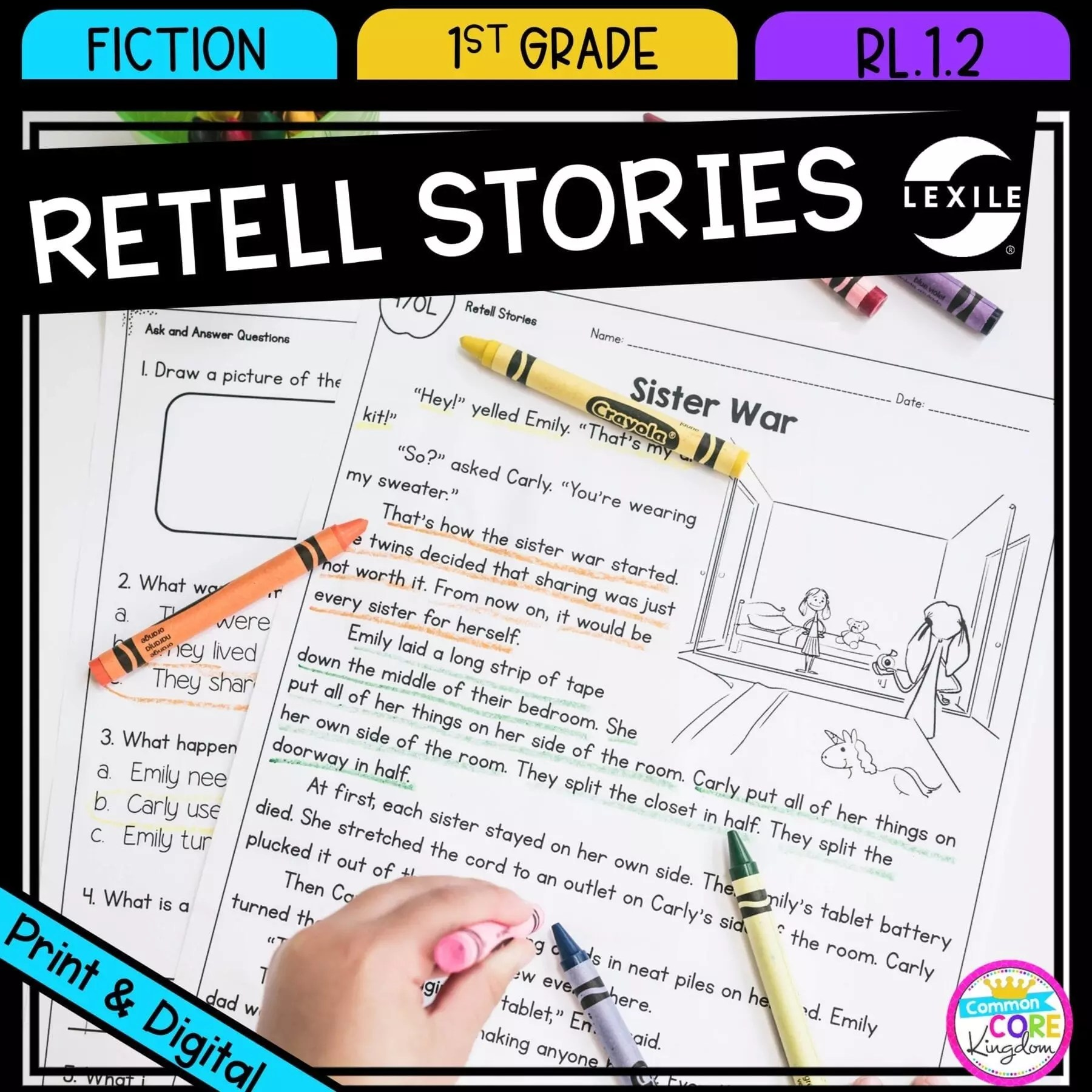 retell stories 1st grade rl 12   printable digital google slides [ 1800 x 1800 Pixel ]