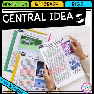 Central Idea for 6th grade cover showing printable and digital worksheets