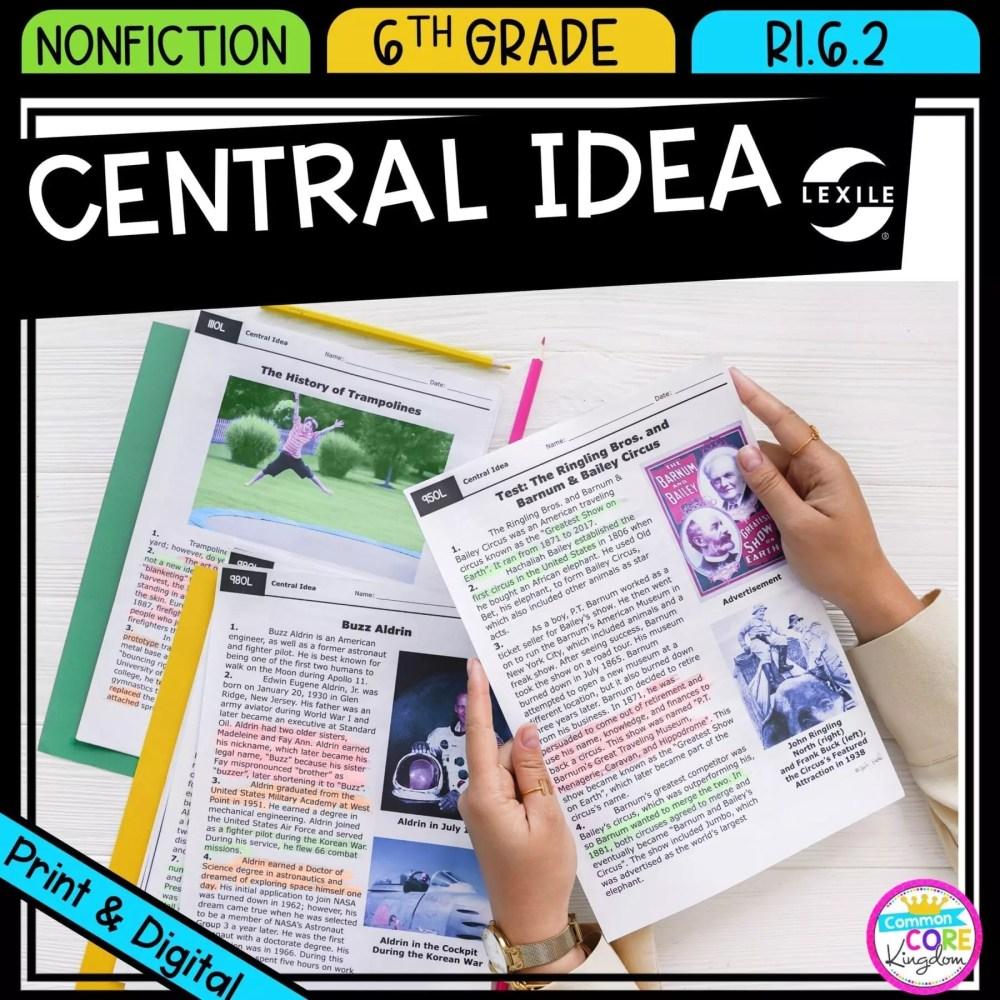 medium resolution of Central Idea 6th Grade RI.6.2   Common Core Kingdom