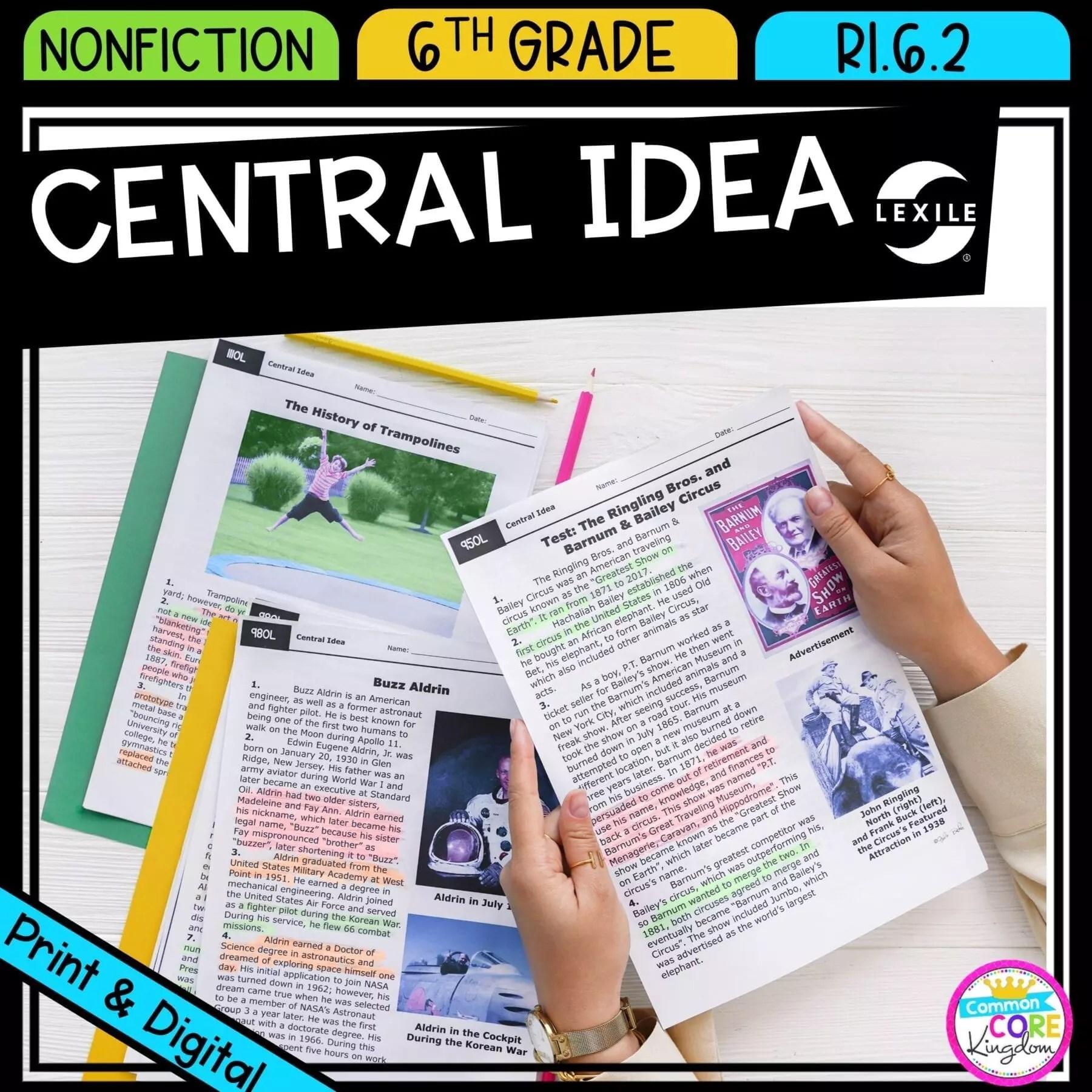 hight resolution of Central Idea 6th Grade RI.6.2   Common Core Kingdom